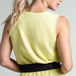 vestido amarelo transpassado daya tecido