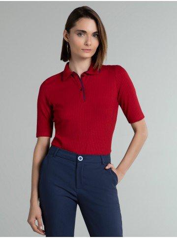 camisa polo vermelha marinho giselah frente