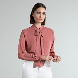 camisa social rose laco poppy detalhes