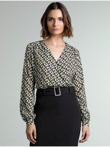 blusa transpassada estampada dora geometrica