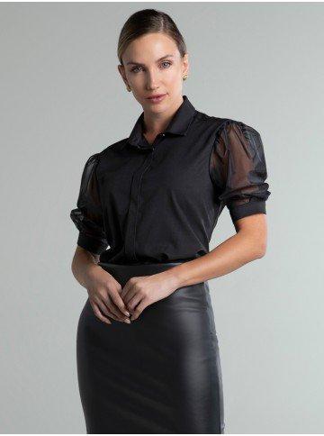 camisa preta manga transparente molly frente