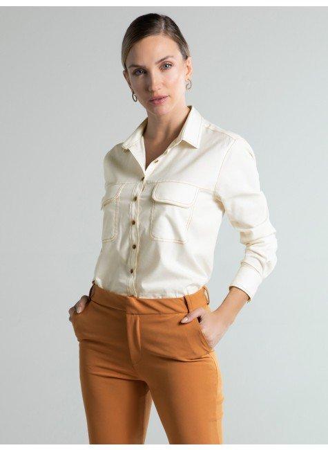 camisa feminina social bege hamara frente