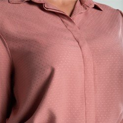 camisa maquinetada rose manga bufante leomara tecido