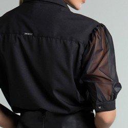 camisa preta mangas bufantes 3 4 molly detalhes