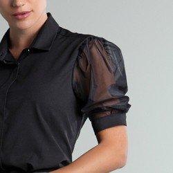 camisa preta mangas bufantes 3 4 molly mangas