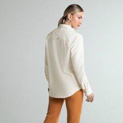 camisa social bege bolsos hamara modelagem