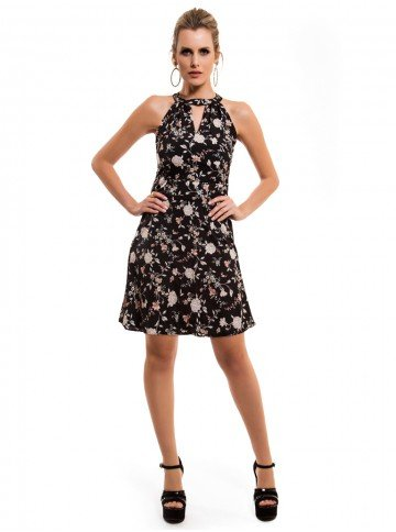 vestido preto floral gola choker ana laura frente