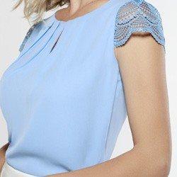 blusa azul manga decote gota rendada leticiana
