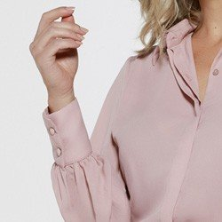 camisa rose manga bufante punho