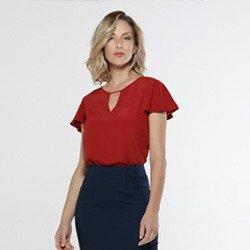 blusa feminina manga gode vermelha viola look total