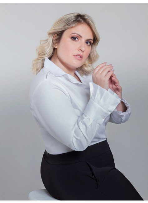 camisa branca com pregas camile frente