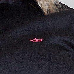 camisa social preta com poa lana bordado