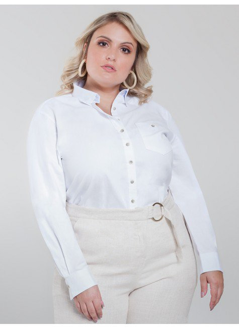 camisa plus size branca nancy frente