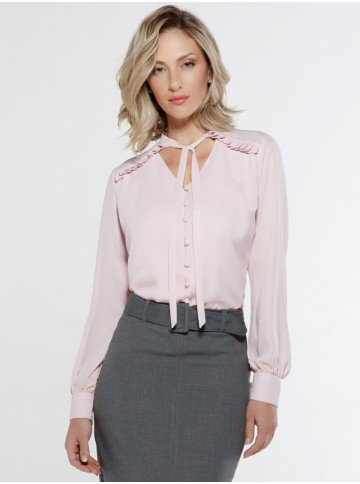 camisa rose gola laco leidiane frente