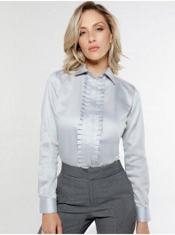 camisa feminina cinza com drapeado olimpia frente