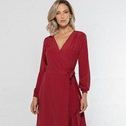 vestido transpassado vermelho nikki detalhe