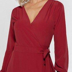 vestido transpassado vermelho nikki detalhe cinto