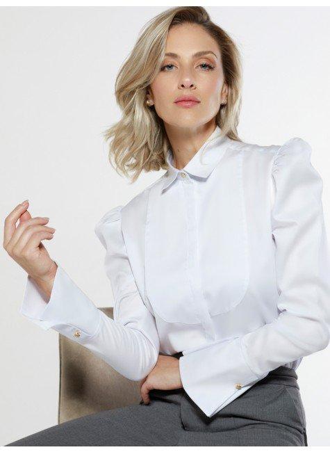 camisa branca manga bufante aliane frente