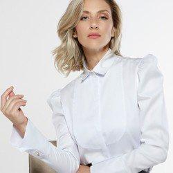 camisa manga bufante branca aliane detalhe