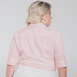 camisa social listrada plus size cecilia tecido