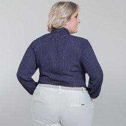 camisa de poa gola laco plus size maria lenidja modelagem