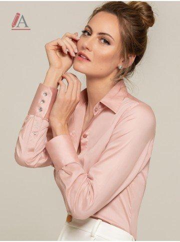 camisa social rose personalizada amber look