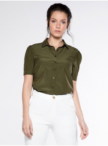 camisa manga bufante verde andreah