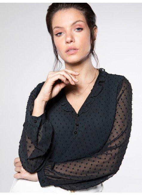 blusa preta manga transparente amabile look