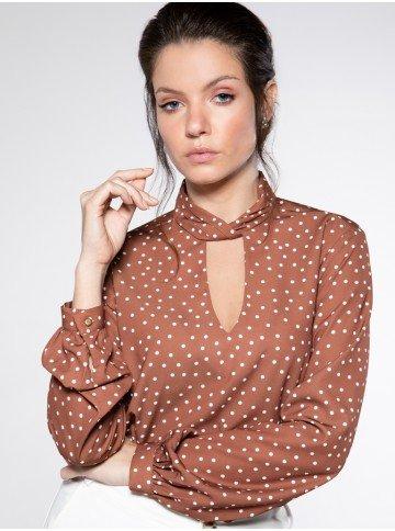 blusa estampada de poa mirandha