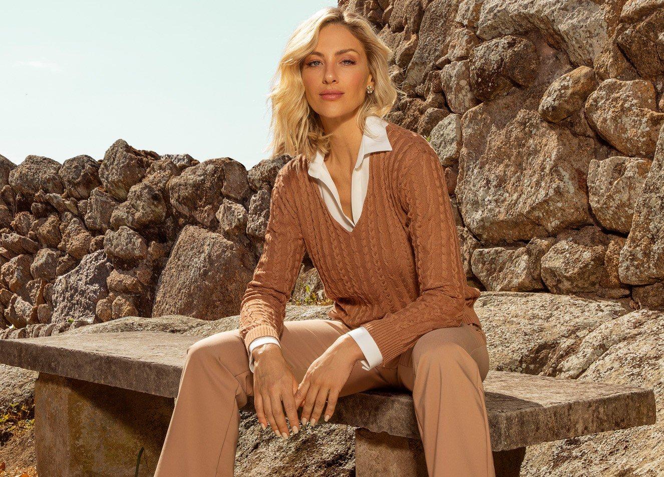 Suéter de tricô Camel
