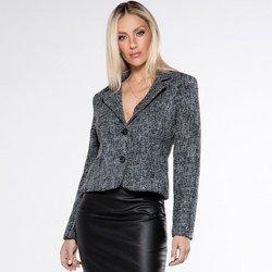 detalhe casaqueto preto tweed octavia look