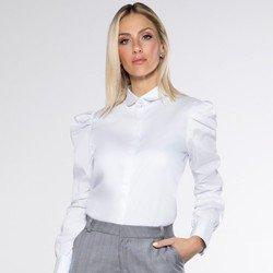 detalhe camisa manga bufante branca tecido