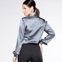 detalhe camisa cetim manga bufante sefora modelagem