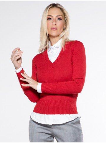 sueter vermelho decote v trico gladys