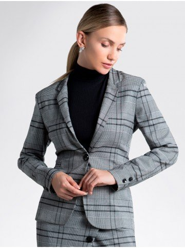blazer xadrez cinza kilani alfaiataria