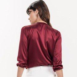 blusa bordo manga 7 8 erlane tecido
