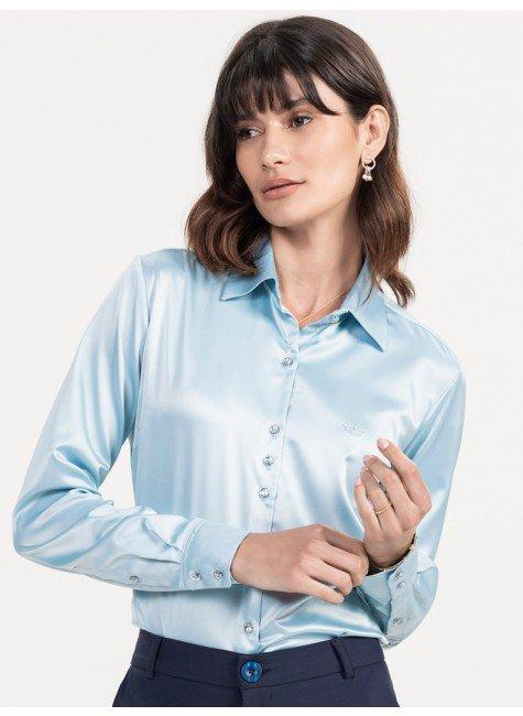 camisa cetim azul claro maely look