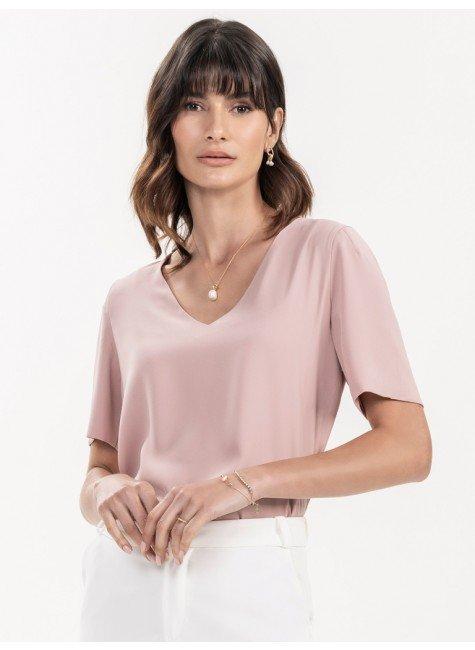blusa basica rose feminina look