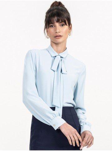 camisa gola laco azul claro evelinne look