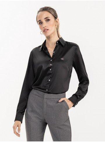 camisa de cetim social preta cinthia vitrine