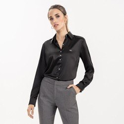camisa de cetim social preta cinthia pequeno frente