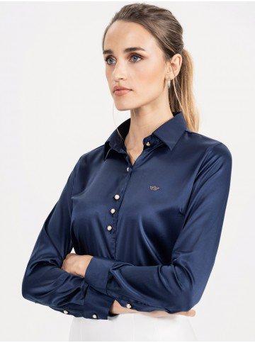 camisa cetim marinho jussara look