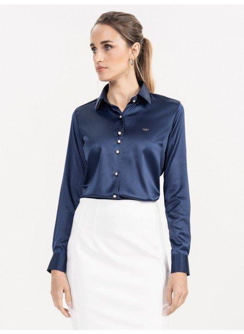 camisa cetim marinho jussara look frente