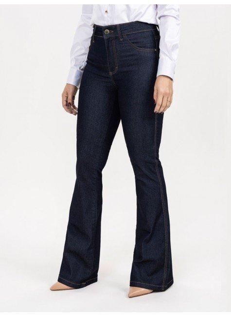 calca bootcut jeans escura elsa