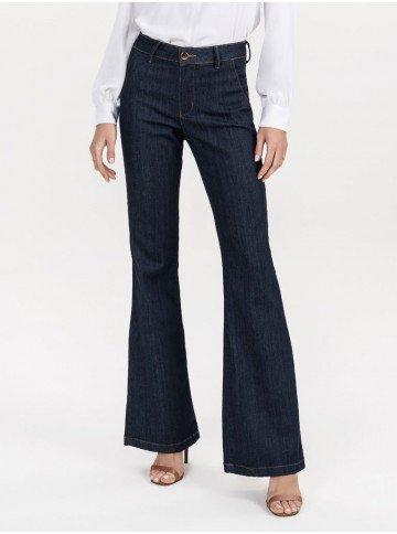 calca flare denim alfaiataria jeans escuro inteira