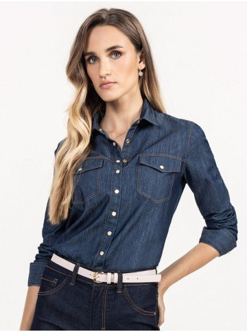 camisa jeans azul classico feminina principessa emanuelle