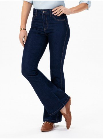 calca jeans escuro modelo boot cut cintura media elsa