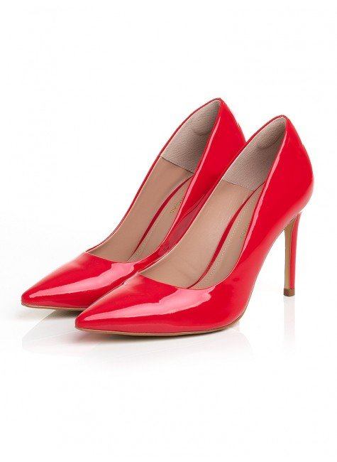sapato scarpin feminino verniz vermelho salto alto principessa gesiely