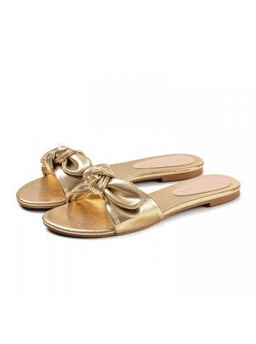 sandalia rasteira dourada principessa joara par
