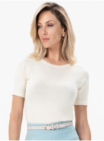 close meio corpo blusa de trico light off white claire